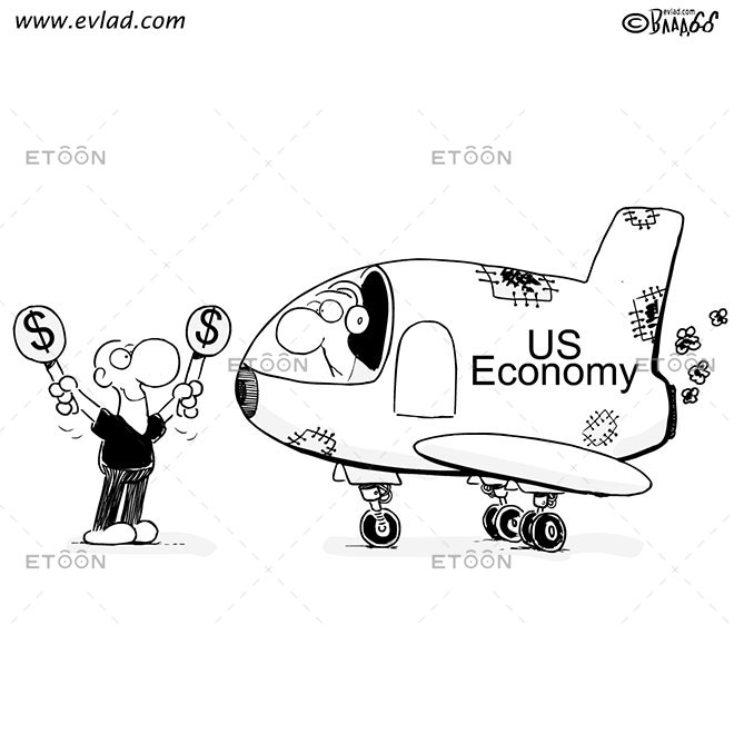 US Economy: eToon cartoon for newsletters, presentations, websites, books and more