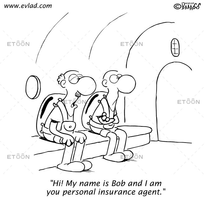 Hi! My name is Bob and I am you personal insurance agent.: eToon cartoon for newsletters, presentations, websites, books and more