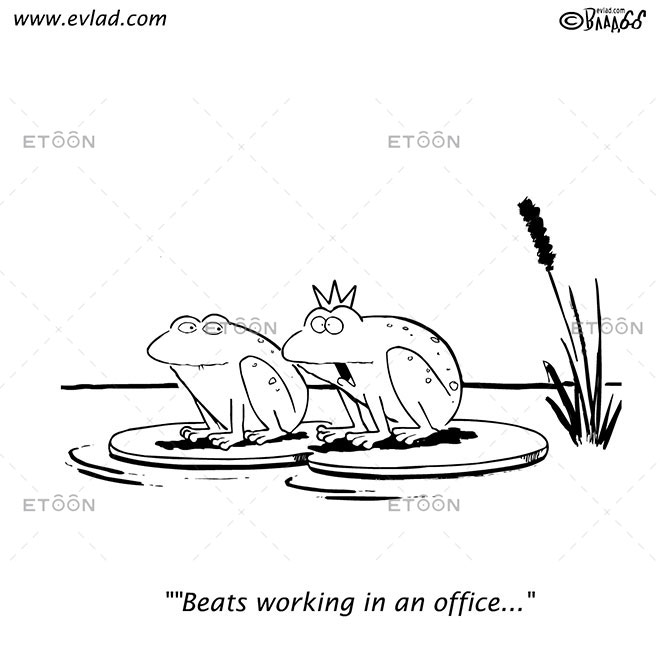 Beats working in an office: eToon cartoon for newsletters, presentations, websites, books and more