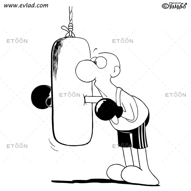 Boxing training: eToon cartoon for newsletters, presentations, websites, books and more