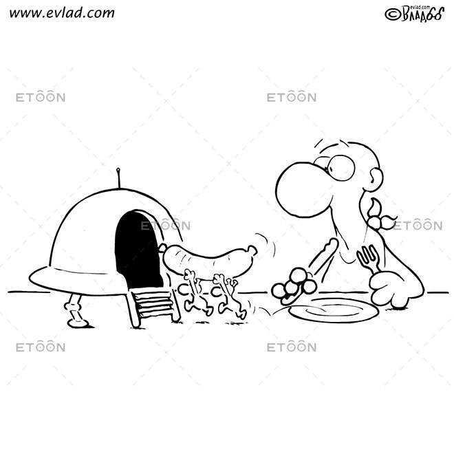 Martians stealing a wiener: eToon cartoon for newsletters, presentations, websites, books and more