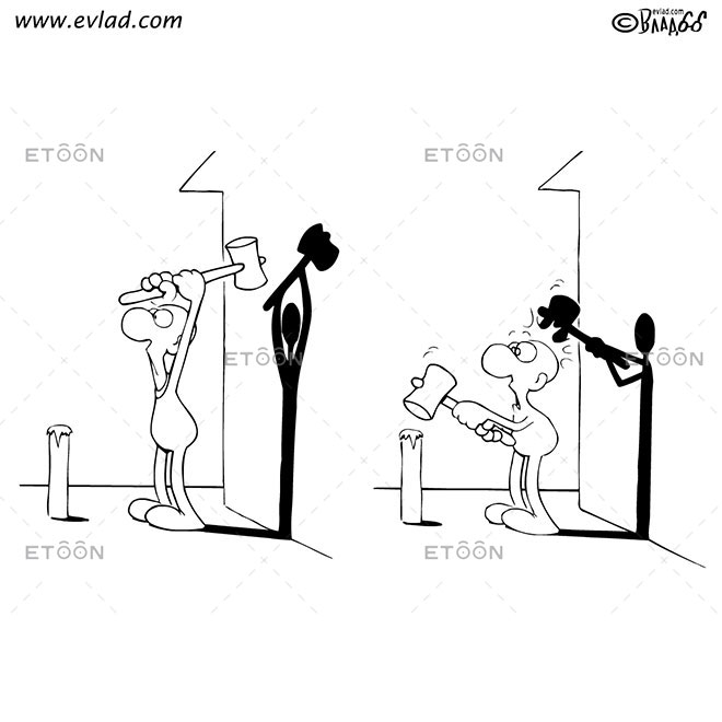 Shadow hitting a man with a hammer on the head: eToon cartoon for newsletters, presentations, websites, books and more
