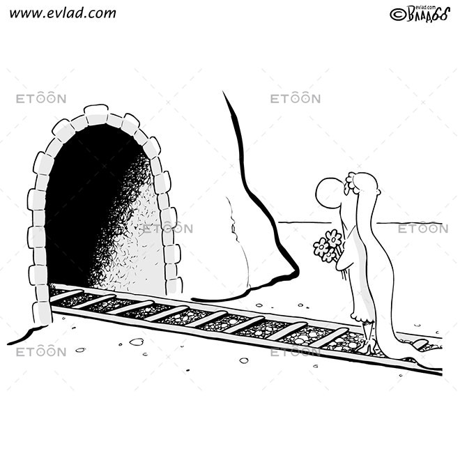A bride waiting on the train racks: eToon cartoon for newsletters, presentations, websites, books and more